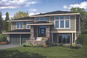 Prairie Style House Plan - 3 Beds 3.5 Baths 2886 Sq/Ft Plan #124-1122 Exterior - Front Elevation