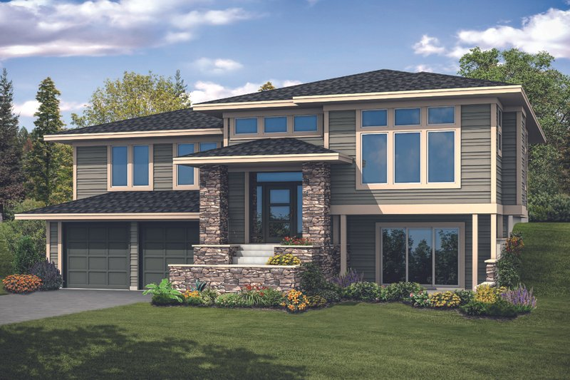 Prairie Exterior - Front Elevation Plan #124-1122