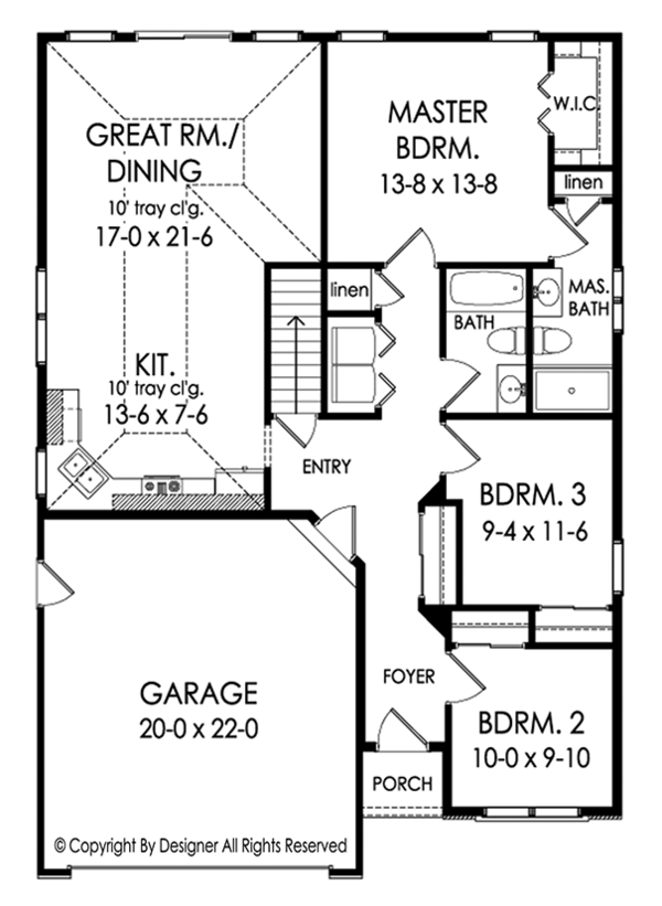 Ranch Floor Plan - Main Floor Plan Plan #1010-199