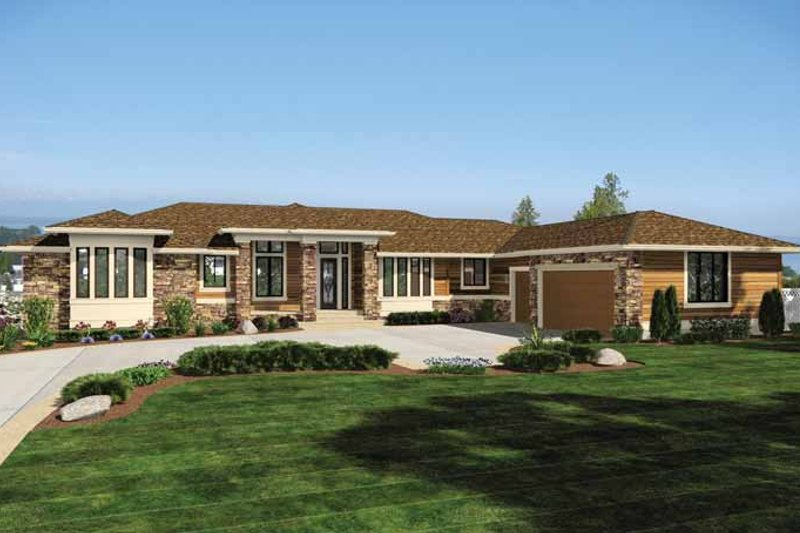 Architectural House Design - Prairie Exterior - Front Elevation Plan #132-557