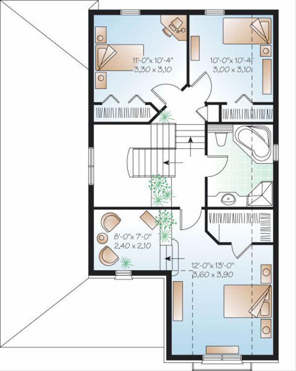 European Floor Plan - Upper Floor Plan Plan #23-798