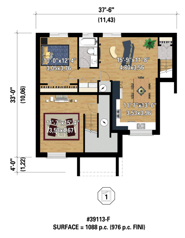 Contemporary Floor Plan - Lower Floor Plan Plan #25-4354