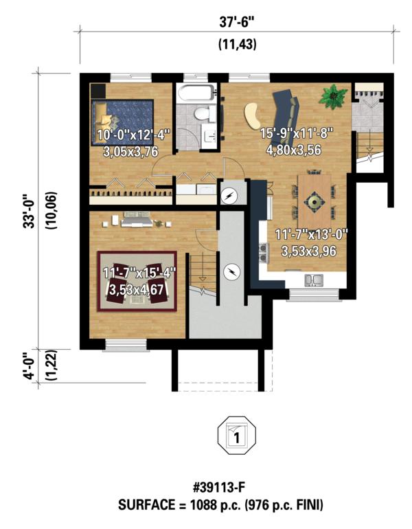 Contemporary Floor Plan - Lower Floor Plan #25-4354