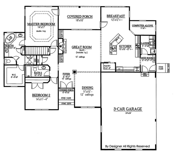 House Plan Design - Craftsman Floor Plan - Main Floor Plan #437-75
