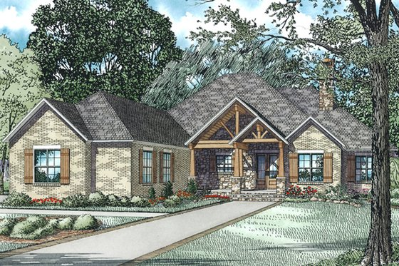 Ranch Exterior - Front Elevation Plan #17-3367