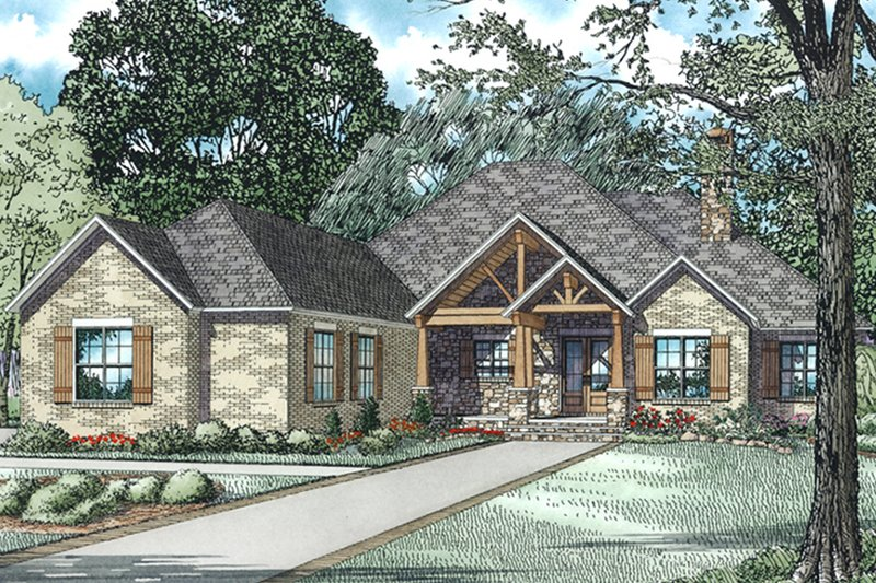 Dream House Plan - Ranch Exterior - Front Elevation Plan #17-3367
