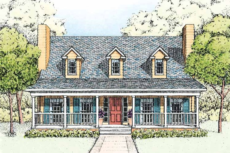 Country Exterior - Front Elevation Plan #1051-6 - Houseplans.com