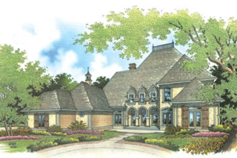 European Style House Plan - 4 Beds 4.5 Baths 3096 Sq/Ft Plan #45-160 Exterior - Front Elevation