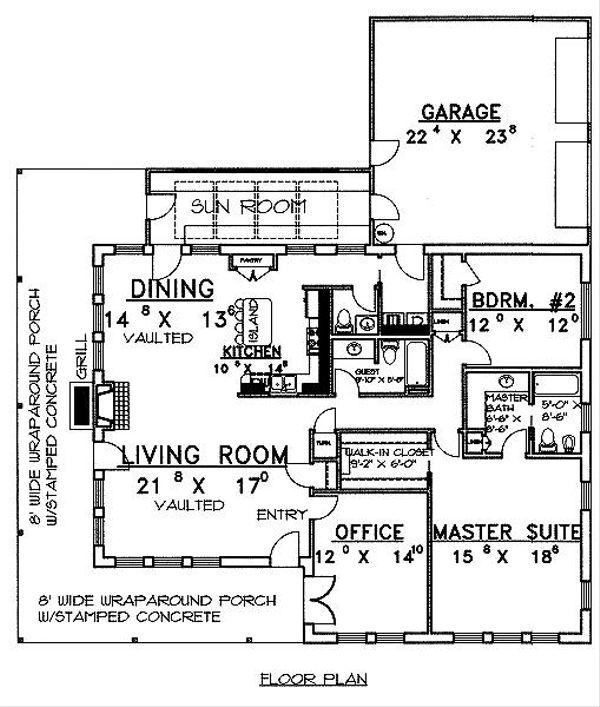 Architectural House Design - Southern Floor Plan - Main Floor Plan #117-133