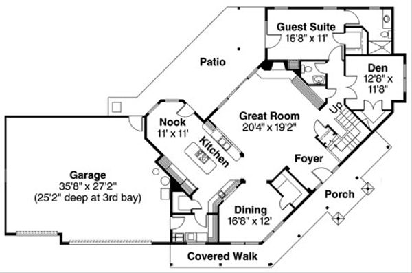Craftsman Floor Plan - Main Floor Plan Plan #124-507