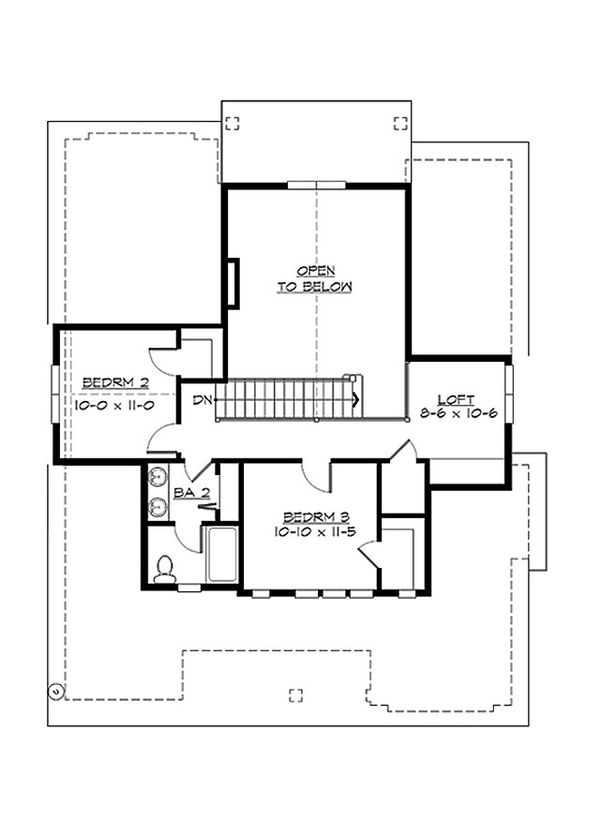 Craftsman Floor Plan - Upper Floor Plan Plan #132-209