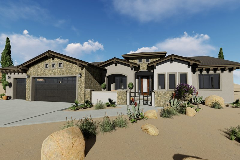 Adobe / Southwestern Exterior - Front Elevation Plan #1069-16