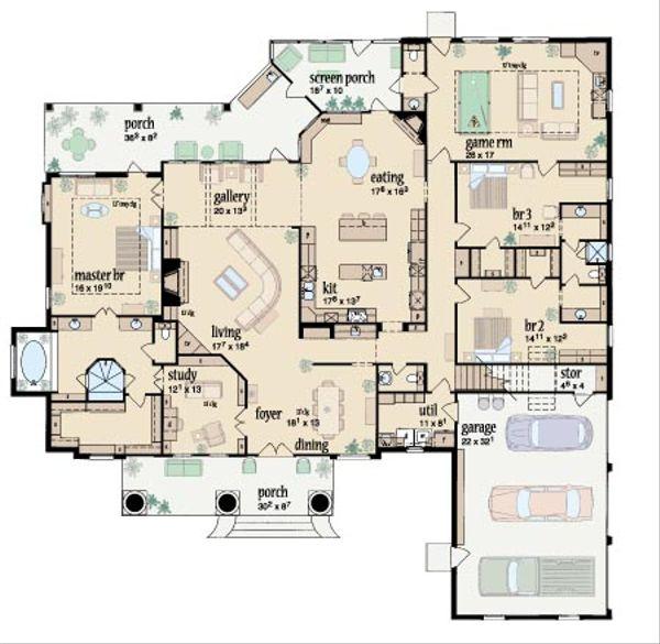 Southern Floor Plan - Main Floor Plan #36-243