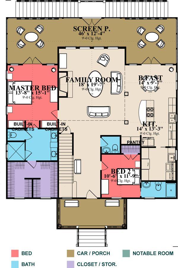 Beach Floor Plan - Main Floor Plan Plan #63-395