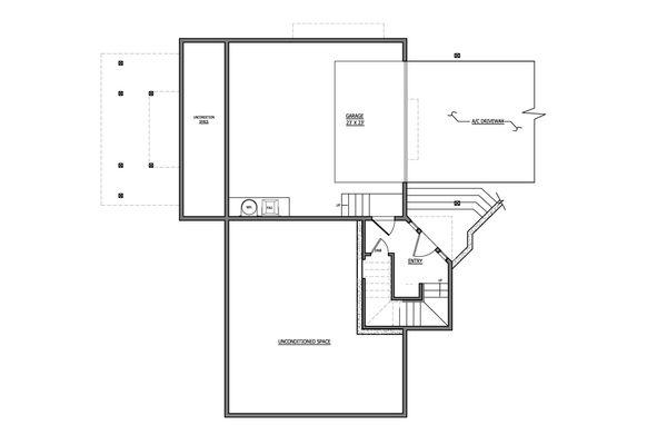 Craftsman Floor Plan - Lower Floor Plan #899-6