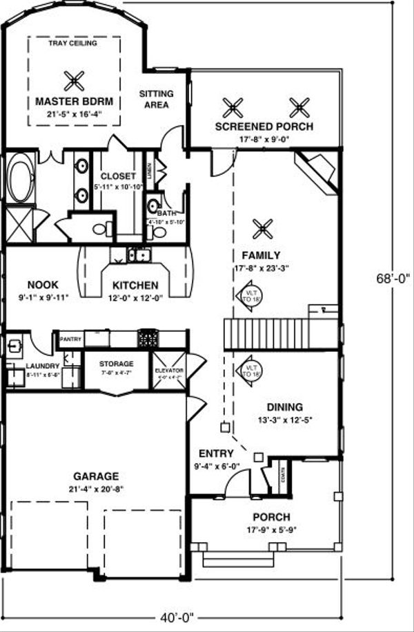 Country Floor Plan - Main Floor Plan Plan #56-245