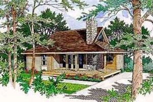 Cabin Exterior - Front Elevation Plan #116-106