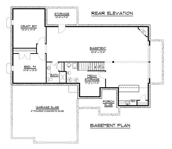 Craftsman Floor Plan - Lower Floor Plan Plan #1064-37