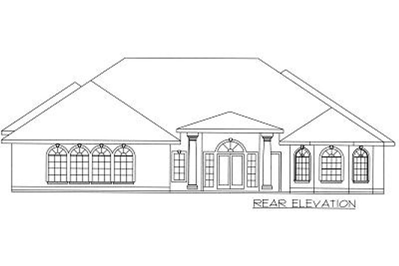 Mediterranean Exterior - Rear Elevation Plan #117-523 - Houseplans.com
