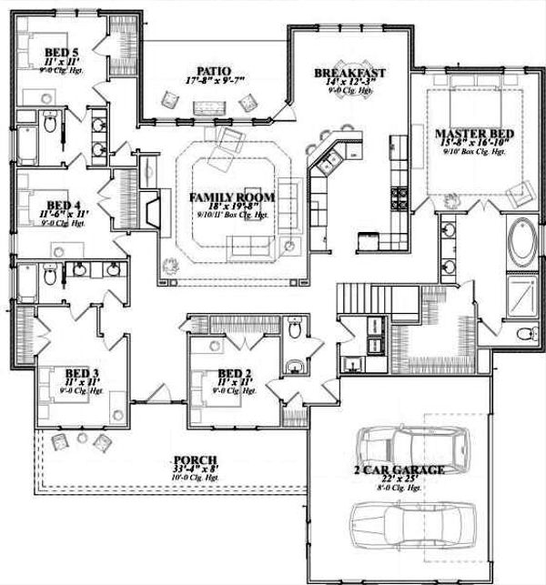 Southern Floor Plan - Main Floor Plan #63-164