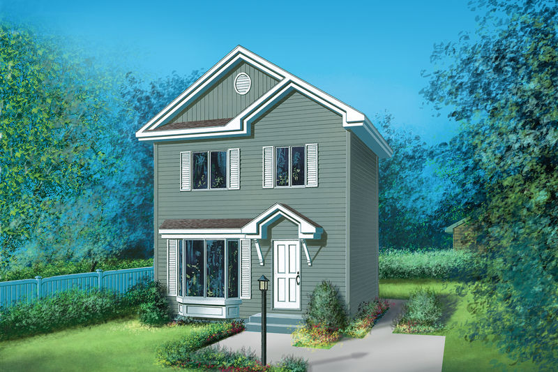 Traditional Style House Plan - 3 Beds 1.5 Baths 904 Sq/Ft Plan #25-2188 Exterior - Front Elevation
