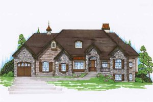 European Exterior - Front Elevation Plan #945-128