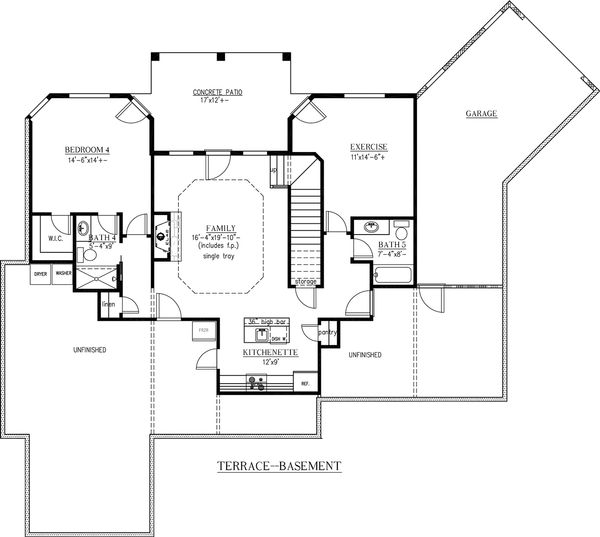 European Floor Plan - Lower Floor Plan Plan #437-58