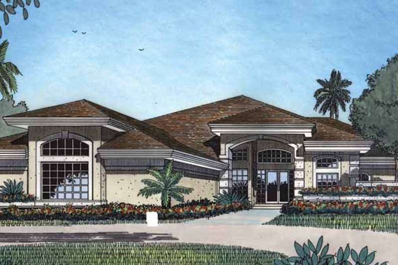 Mediterranean Exterior - Front Elevation Plan #417-477