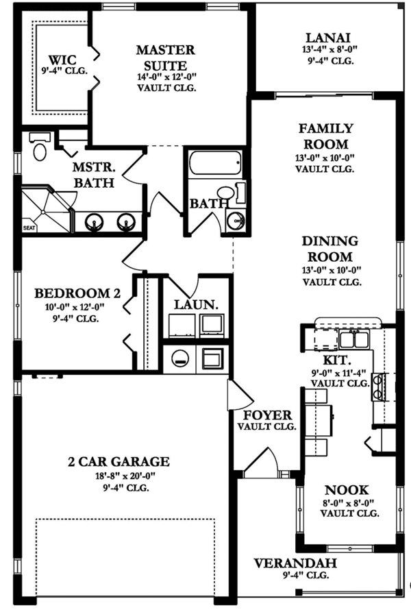 Ranch Floor Plan - Main Floor Plan Plan #1058-101