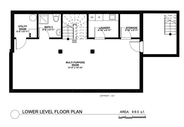 Contemporary Floor Plan - Lower Floor Plan Plan #535-26