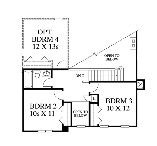 Traditional Floor Plan - Upper Floor Plan Plan #1053-39