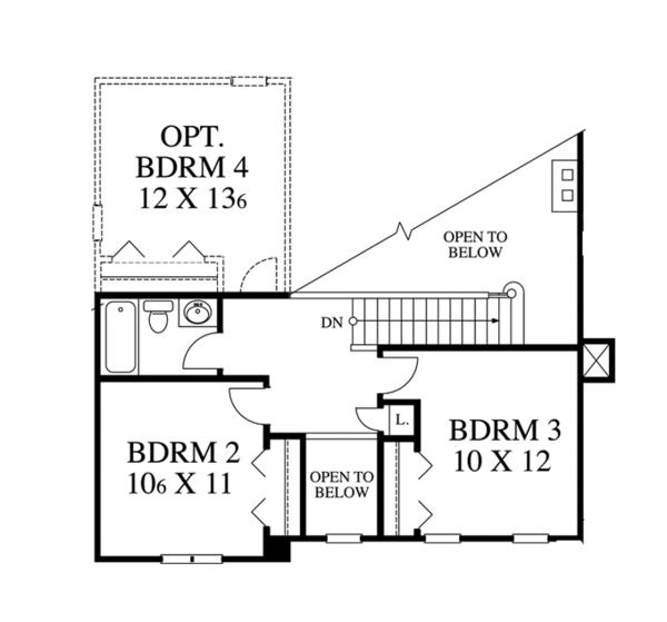 Traditional Floor Plan - Upper Floor Plan Plan #1053-39