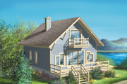 Cottage Style House Plan - 3 Beds 2 Baths 1286 Sq/Ft Plan #25-1106 Exterior - Front Elevation