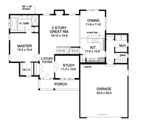 Traditional Floor Plan - Main Floor Plan Plan #1010-75