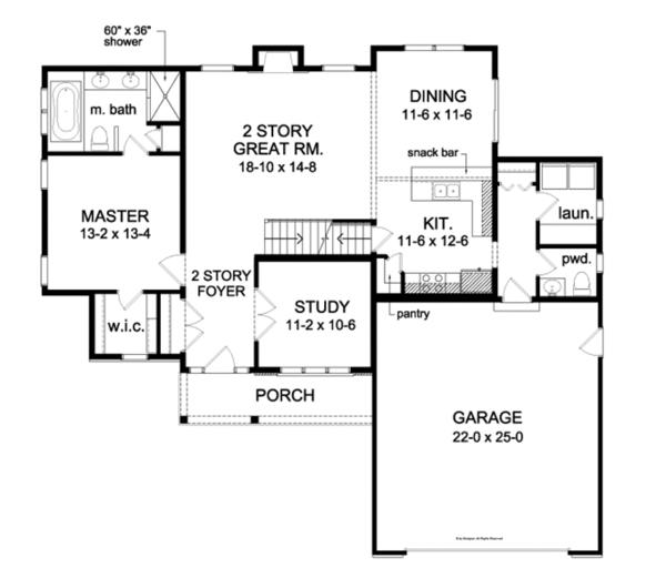 Traditional Floor Plan - Main Floor Plan Plan #1010-75