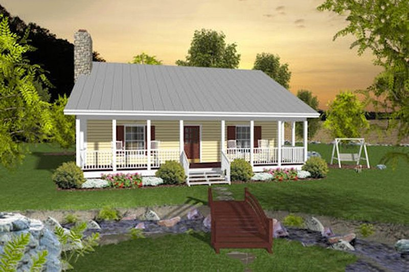 Country Style House Plan - 2 Beds 1.5 Baths 953 Sq/Ft Plan #56-559 Exterior - Front Elevation