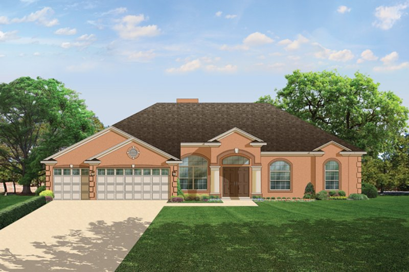 Dream House Plan - Mediterranean Exterior - Front Elevation Plan #1058-44