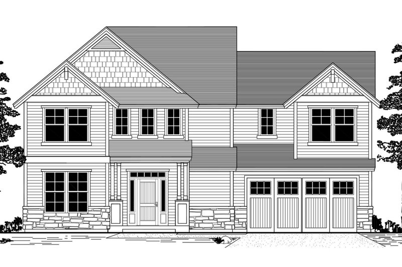 Craftsman Style House Plan - 3 Beds 2.5 Baths 2211 Sq/Ft Plan #53-483 Exterior - Front Elevation