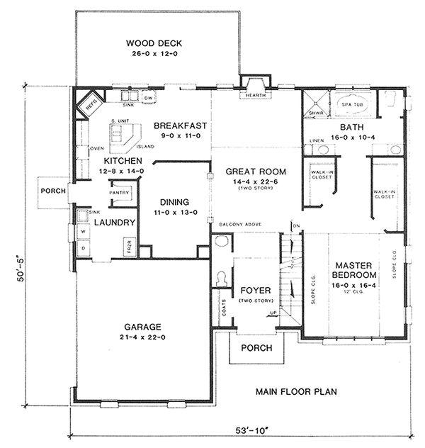 Main Floor Plan - 2700 square foot European home