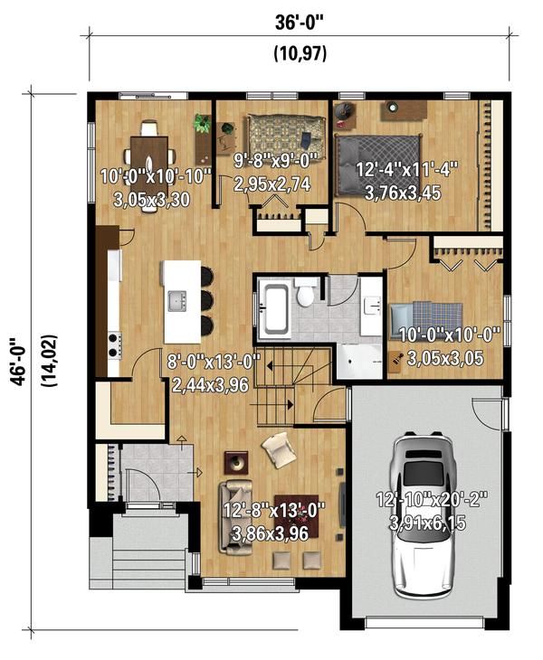 Contemporary Floor Plan - Main Floor Plan Plan #25-4546