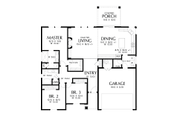 Craftsman Style House Plan - 3 Beds 2 Baths 1605 Sq/Ft Plan #48-998 Floor Plan - Main Floor