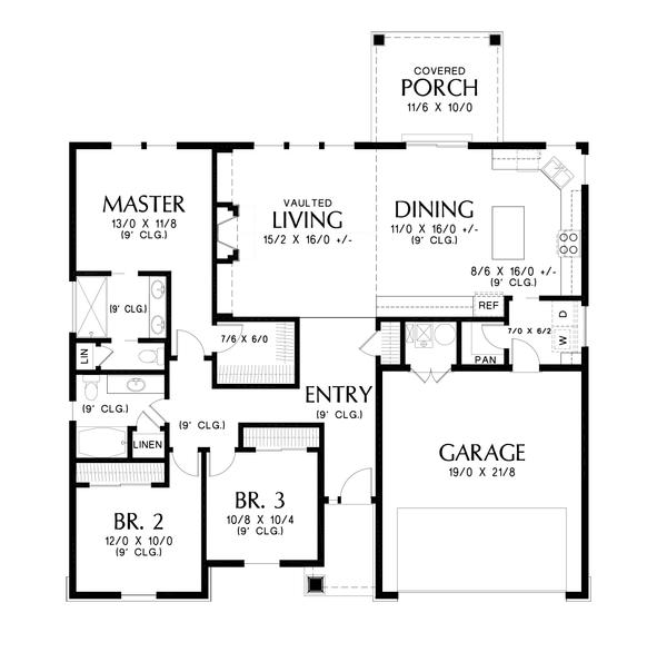 House Plan Design - Craftsman Floor Plan - Main Floor Plan #48-998