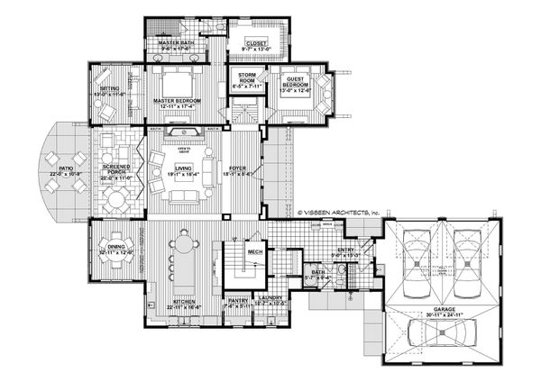 Country Style House Plan - 4 Beds 4 Baths 3785 Sq/Ft Plan #928-322 Floor Plan - Main Floor Plan