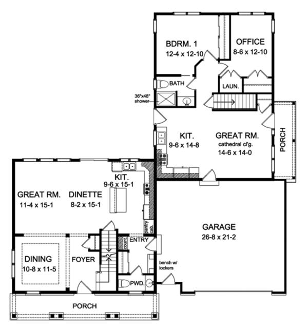 Colonial Floor Plan - Main Floor Plan Plan #1010-191