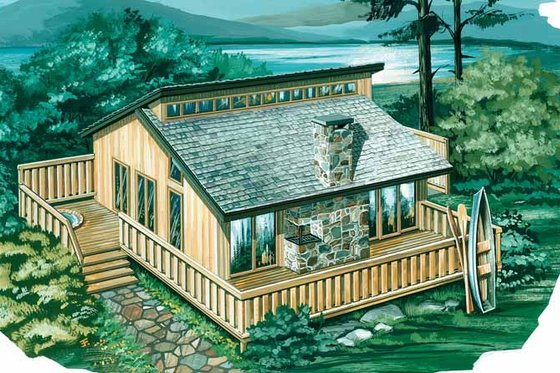Cabin Exterior - Front Elevation Plan #47-651
