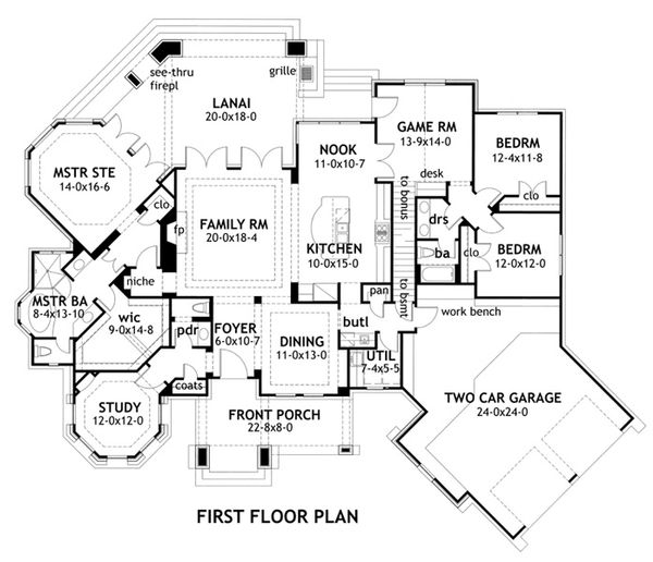 Mountain Lodge craftsman floor plan by David Wiggins 2800 sft
