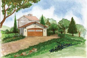 Home Plan Design - Adobe / Southwestern Exterior - Front Elevation Plan #1042-4