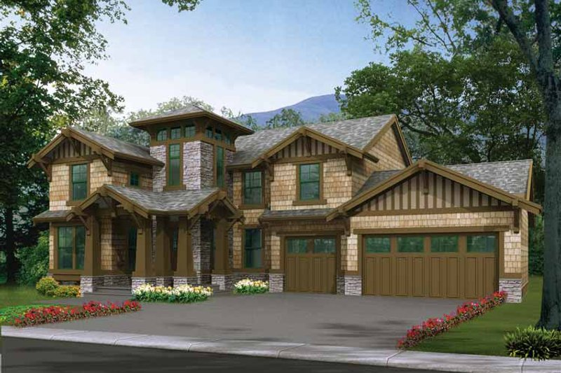 Architectural House Design - Craftsman Exterior - Front Elevation Plan #132-319