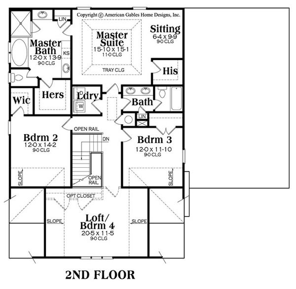 Craftsman Floor Plan - Upper Floor Plan Plan #419-282