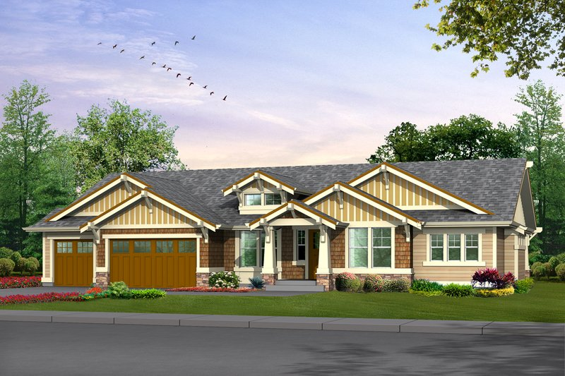 Dream House Plan - Craftsman Exterior - Front Elevation Plan #132-201